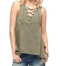 Women's Rock & Republic Lace-Up Handkerchief Hem Tank Top, Medium - New w/ Tags!