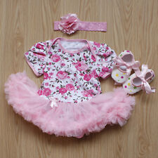 3PCS Newborn Baby Girl Romper Tutu Dress Jumpsuit Headband Shoes Outfits Clothes