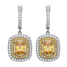 Sterling Silver Fashion Drop/Dangle Earrings with AAA quality Yellow & White CZ