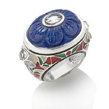 ISHARYA STERLING SILVER FLORAL CARVED LAPIS AND ENAMEL RING SIZE 6 HSN SOLDOUT!