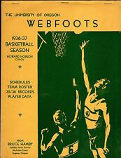 Original/RARE 1936-37 OREGON DUCKS BASKETBALL MEDIA GUIDE with TALL FIRS Stars!