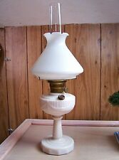Antique ALADDIN Pink Alacite Glass Oil /Kerosene Lamp LINCOLN DRAPE & Opal Shade