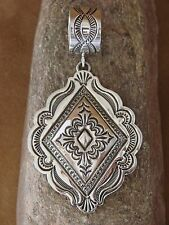 Native American Indian Sterling Silver Stamped Concho Pendant Shelly Blackgoat