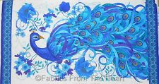 """Peacock Teal Plume Bird Flowers  w Stain Glass Look 23"""" Panel TT Cotton Fabric"""