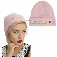 Melanie Martinez Cry Baby Beanie Blocks Pink Watchman Knit Hat Cap Genuine NEW