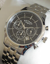 Rotary Men's GB03633/04 Black Chronograph Bracelet Swiss Watch RRP £229 - NEW