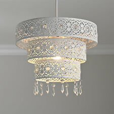 3 Tier Moroccan White Metal Jewelled Droplet Pendant Light Chandelier Cut Out