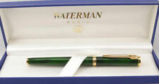 WATERMAN PREFACE GREEN MARBLE  & GOLD  TRIM  ROLLERBALL  PEN  IN BOX **