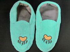 NATIVE AMERICAN BEADED  BLUE MOCCASINS 10 INCHES GOLD  BEAR CLAW VAMP FLEECE