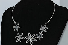 925 STERLING SILVER SOLID HANDMADE FLOWERS NECKLANCE 14 inches