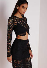 MISSGUIDED CROPSHIRT ASOS SPITZE CROP TOP ROMANTIK BoHo BLOGGER 36 S NEU TOP