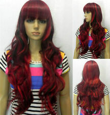 HOt~!Fashion Black Mix Red Wig Long Wavy Curly Hair Women Cosplay Full Wigs