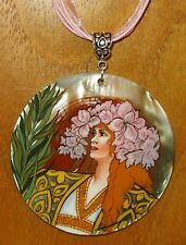 Russian Hand painted REPRODUCTION SHELL pendant A MUCHA Sarah Bernhardt GISMONDA