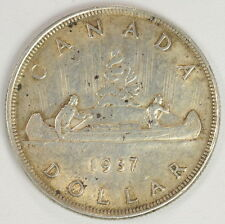 1937 $1 Dollar Canadian Silver Dollar Coin