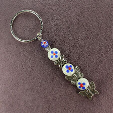 BUTTERFLY KEY RING DANGLER Chain Totem Monarch Red White Blue Silver Moths