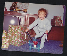 Vintage Photograph Little Boy Standing on Toy Bike Eyes Closed Retro Television