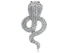 GB Striking Diamante Rhinestone Hooded Desert Poison Snake Serpent Pin Brooch