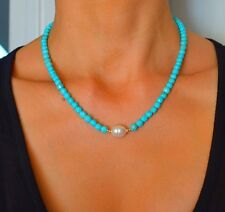 NATURAL Faceted Blue TURQUOISE/South Sea PEARL 14k Yellow Gold NECKLACE