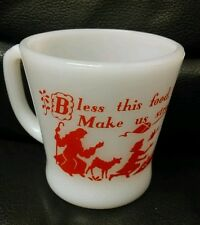 Fireking Anchor Hocking Bless This Food Milk Glass Mug, Excellent!  1950's
