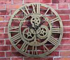 Modern Home Decor Clock Large Round Metal Color Wall Vintage Steampunk Skeleton