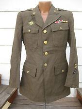 VTG WW2 US Army Officer Dress Uniform Wool Jacket 38 L 1942 Pin & patch Button