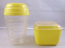 Vintage Yellow Lustro-Ware 2 Cup Household Mixer and Refrigerator Dish