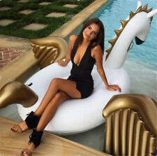 Giant Inflatable Rainbow Unicorn Water Pool Floats White Pegasus Float Swimming