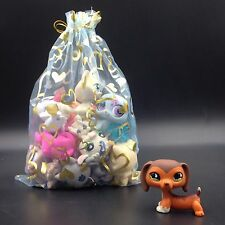 littlest pet shop toy DACHSHUND #675 dog + 10 random pets lot with gift bag