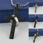 Men's Charm Punk Stainless Steel Bible Cross Ring Pendant Necklace Gift B57U