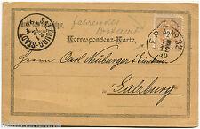 AUSTRIA, KORRESPONDENZ-KARTE, ANNULS FPA 32 + SALZBURG-STADT, 1890, STAMP OF 2 m
