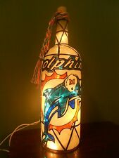 Miami Dolphins Inspired Wine Bottle Lamp Hand Painted Stained Glass look