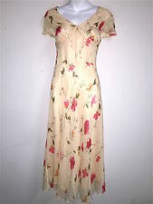 ROBBIE BEE WOMENS LADIES PEACH FLORAL 100% SILK SHORT SLEEVE SUMMER DRESS ~SZ 14