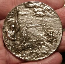 ZEPPELIN AT WAR IN BATTLE of  MASURIAN 1914 LARGE SILVER HINDENBURG MEDAL C448