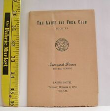 THE KNIFE & FORK CLUB INAUGURAL DINNER PROGRAM 1951-1952 SEASON WICHITA KANSAS