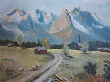 GERMAN ARTIST( E. WLOMER) 1957 ALPINE, DECTSCHLAND: ORIGINAL OIL ON CANVAS