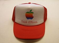 Apple Computer Rainbow Logo Think Different Hat - RED