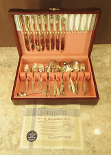 Vtg 71 PC ONEIDA WM A ROGERS ROSE PATTERN 2X SILVER PLATED SILVERWARE + CHEST
