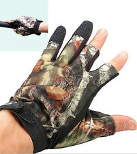 Waterproof Fishing Gloves Hunting 3 Cut Finger Anti-Slip Mitts Camo Camouflage