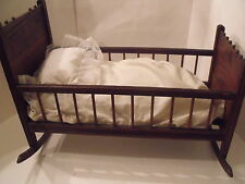 ANTIQUE VICTORIAN PRESS BACK OAK ROCKING DOLL BEAR BABY CRADLE CRIB