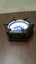 VINTAGE CHINESE WOOD WITH PORCELAIN ASHTRAY / BOWL/ HAND PAINTED DRAGON