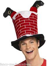 Damen Herren Santa's Kamin Rot Weihnachten Hut Festive Maskenkostüm