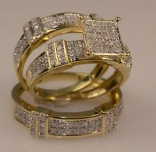 Diamond Trio Set 10K Yellow Gold Over His & Her Engagement Ring Wedding Band