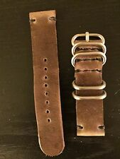 20mm Horween Natural Chromexcel Leather handmade two-piece Watch Strap