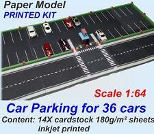 Inkjet printed on cardstock 1:64 Paper Model Set - Car Parking for 36 HW cars