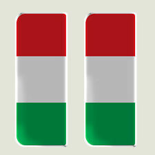 2x Italy Full Flag - Gel Domed Number Plate Badges/Decals 107x42mm
