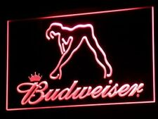 BUDWEISER SEXY WOMAN RED LED NEON SIGN (BAR/GAMES ROOM/MAN CAVE/BEER/PUB) *NEW*