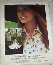 1971 vintage ad - ALLEY CAT fashion CUTE GIRL Cone Corduroy PRINT ADVERT Page