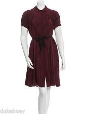 MAYLE BURGUNDY SILK PLEATED ACCORDION DRESS WITH SASH 4 VOLUMINOUS