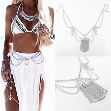 Boho Silver Multilayer Sequins Tassel Belt Waist Belly Body Chain For Gift