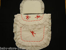 Beautiful  Pram  Quilt  and  Pillow  Set  suitable for MOST PRAMS  WHITE / RED